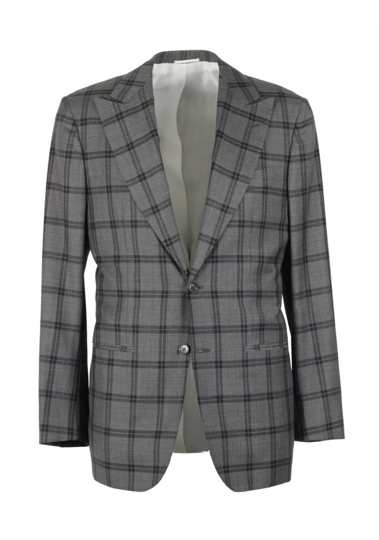 Kiton Gray Checked Suit Size 46 / 36R U.S. Cipa - thumbnail | Costume Limité