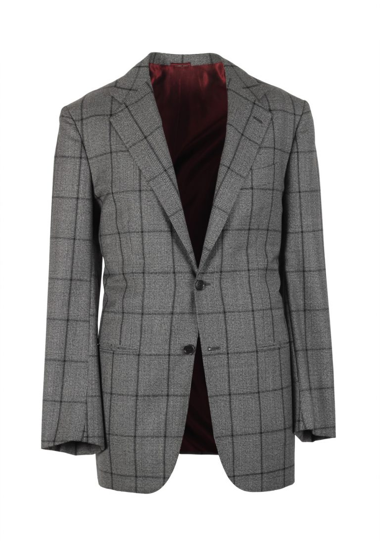 Kiton Gray Checked Suit Size 50 / 40R U.S. Cipa - thumbnail | Costume Limité