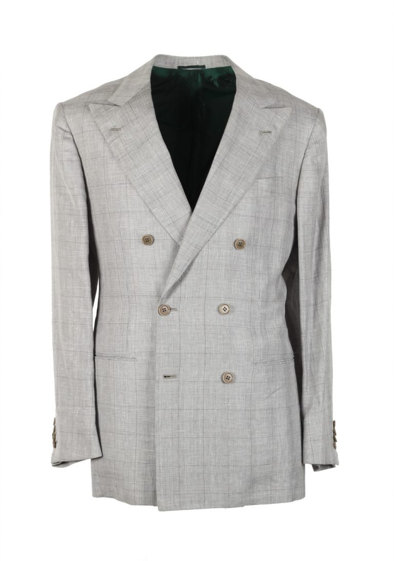 Kiton Suit Size 48 / 38R U.S. Double Breasted Linen Wool Silk - thumbnail | Costume Limité