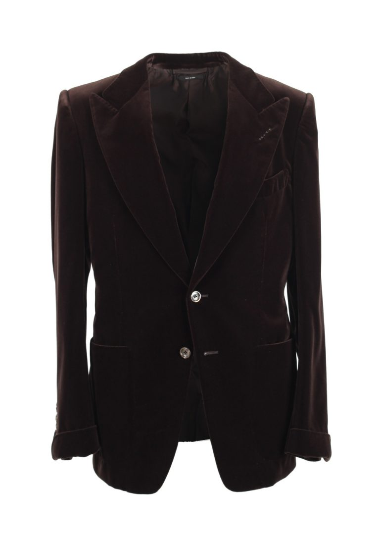 TOM FORD Alexander Brown Sport Velvet Tuxedo Dinner Jacket Coat Size 48 / 38R U.S. Cotton Fit Z - thumbnail | Costume Limité