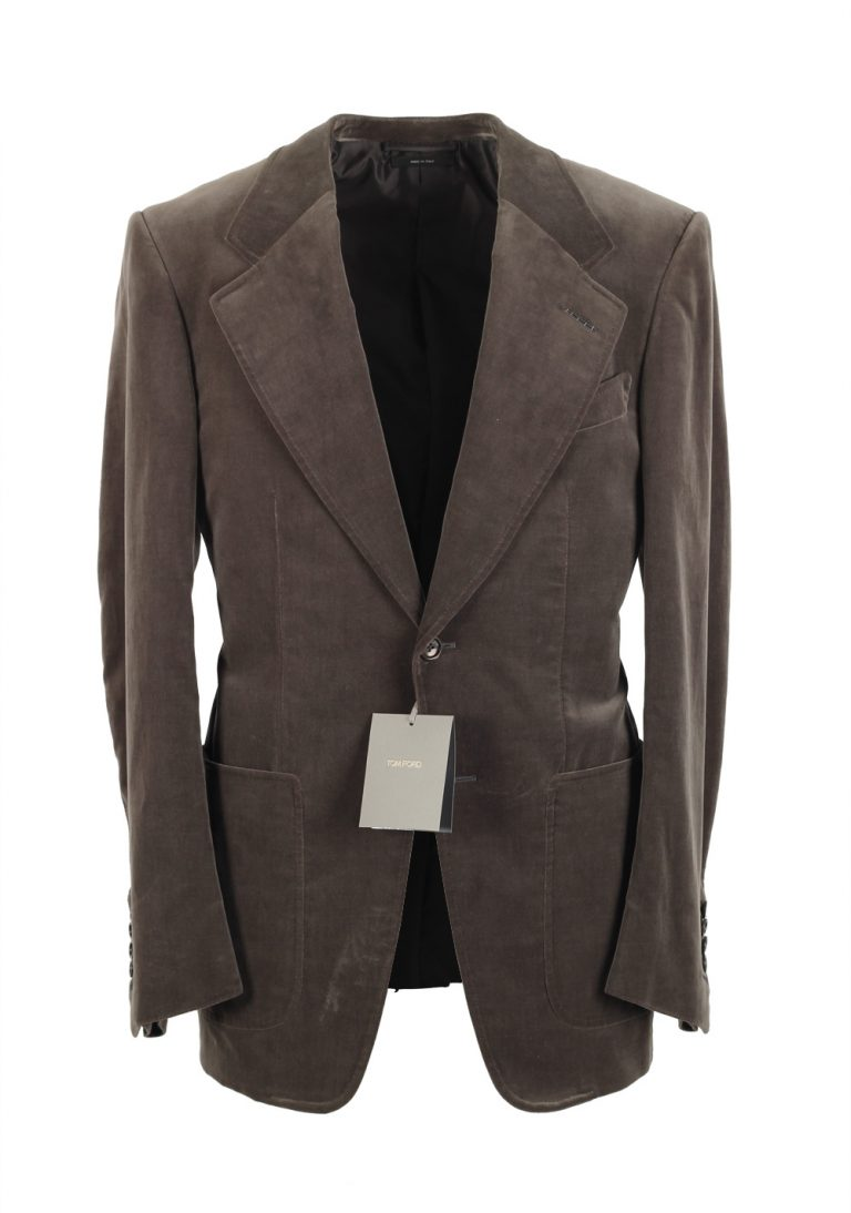 TOM FORD Wetherby Brownish Gray Sport Coat Velvet Tuxedo Dinner Jacket Size 48 / 38R U.S. Cotton Base T - thumbnail | Costume Limité