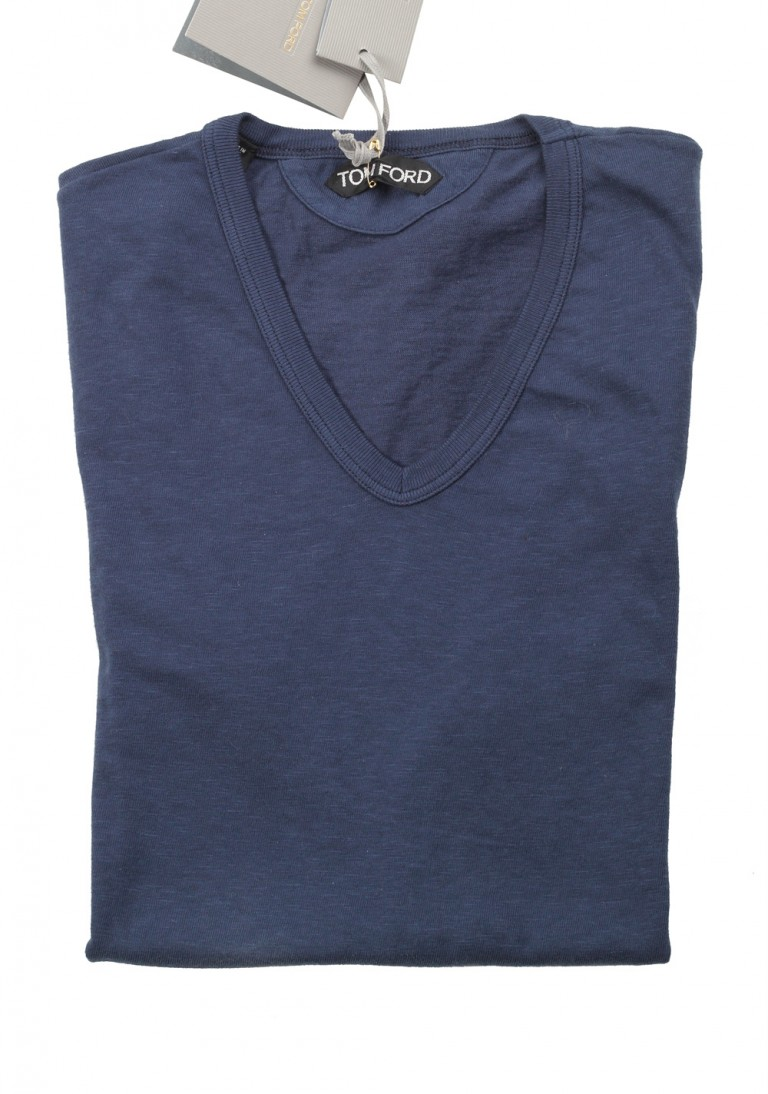 TOM FORD V Neck Tee Shirt Size 46 / 36R U.S. Blue - thumbnail | Costume Limité