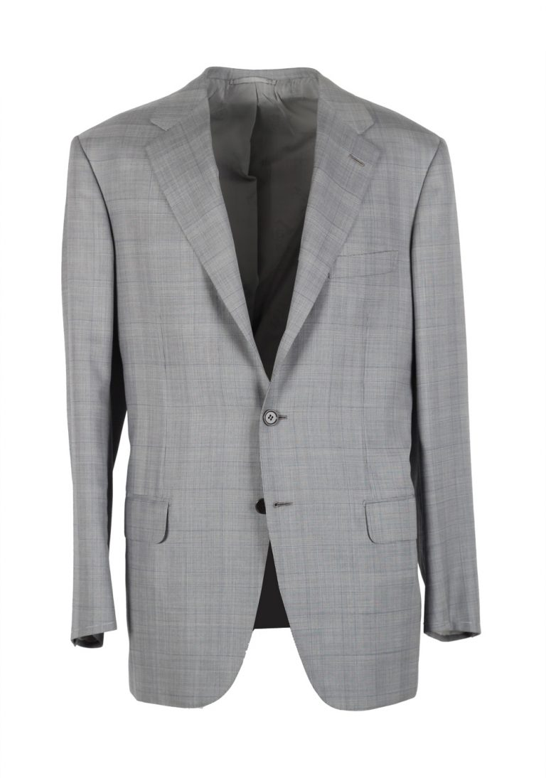 Brioni Parlamento Gray Checked Suit Size 50 / 40R U.S. Wool Silk - thumbnail | Costume Limité