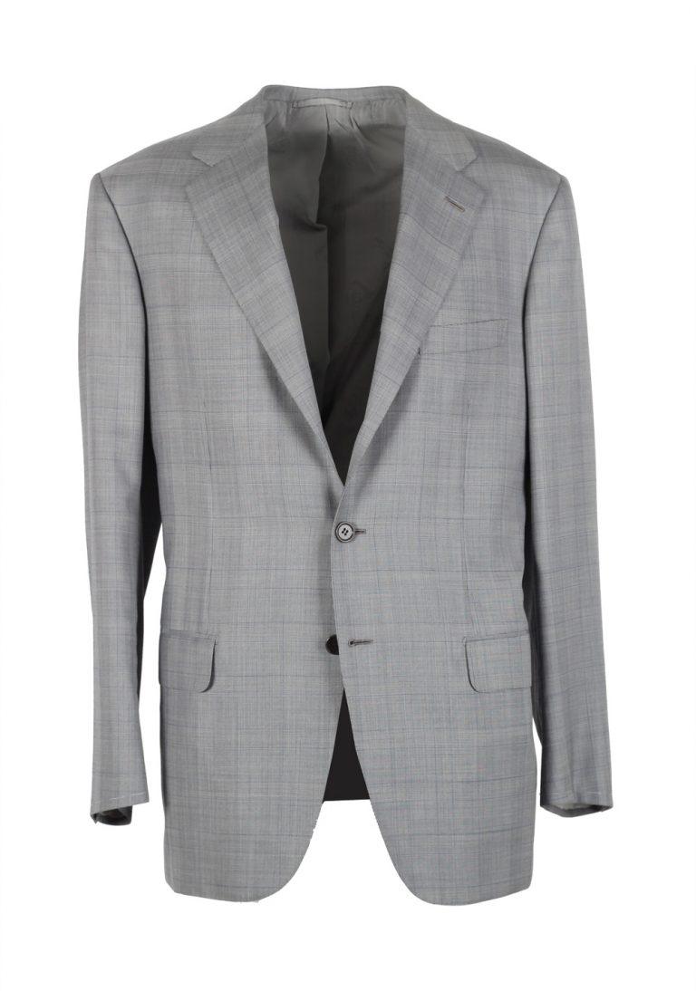 Brioni Parlamento Gray Checked Suit Size 50 / 40R U.S. Wool Silk - thumbnail | Costume Limité