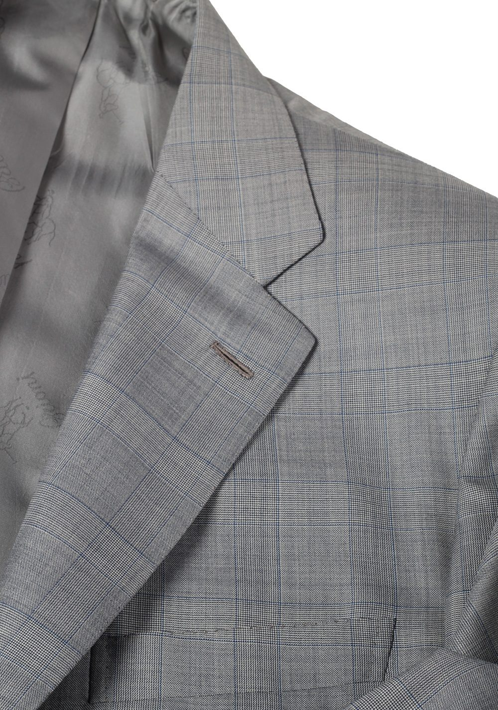 Brioni Parlamento Gray Checked Suit Size 50 / 40R U.S. Wool Silk | Costume Limité
