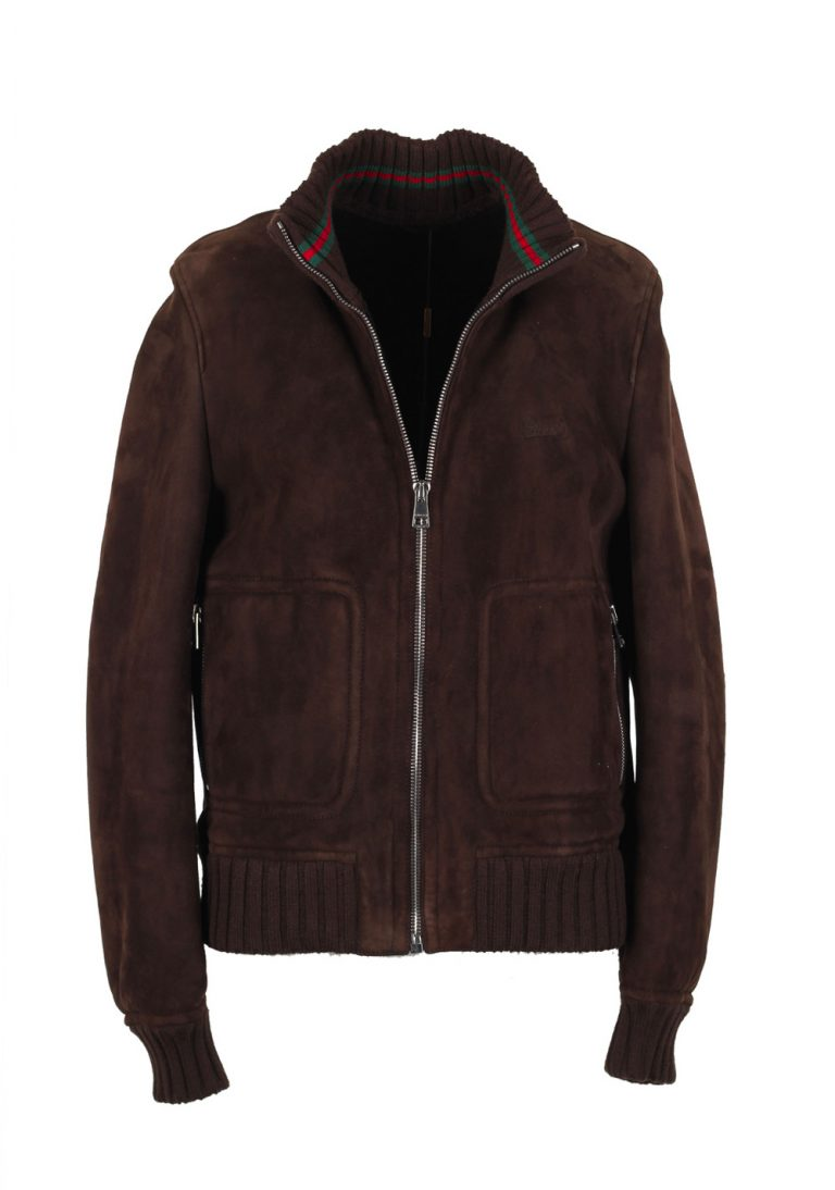 Gucci Brown Leather Bomber Jacket Coat Size 50 / 40R U.S. With Lamb Fur Lining - thumbnail | Costume Limité