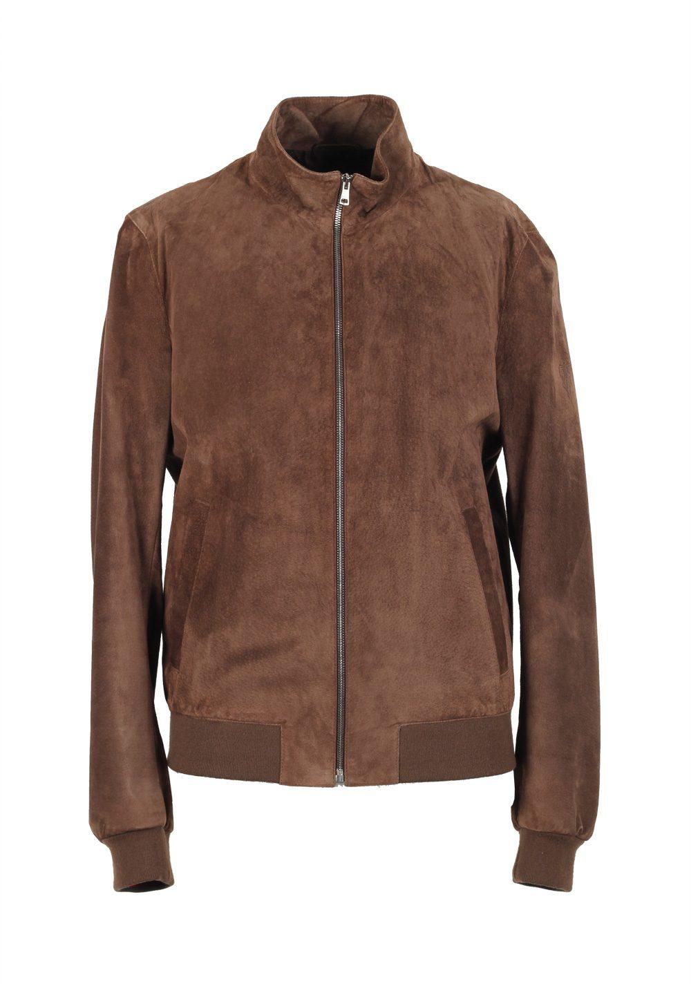 Gucci Brown Leather Bomber Jacket Coat Size 48   38R U.S.  d59e496a26d6