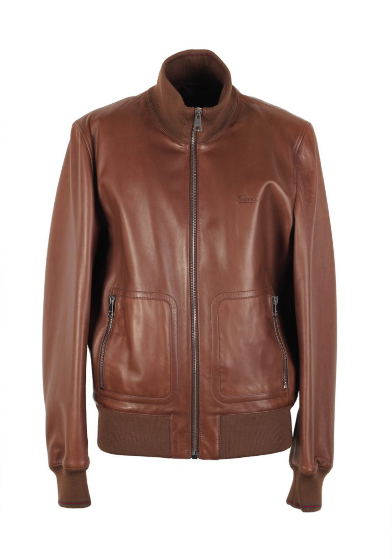 Gucci Brown Nappa Leather Bomber Jacket Coat Size 56 / 46R U.S. - thumbnail | Costume Limité