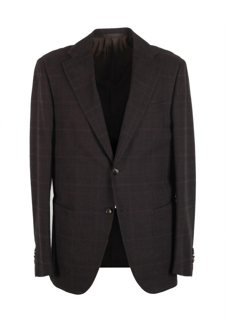 Caruso Brown Checked Sport Coat Size 54 / 44R U.S. Cotton - thumbnail | Costume Limité