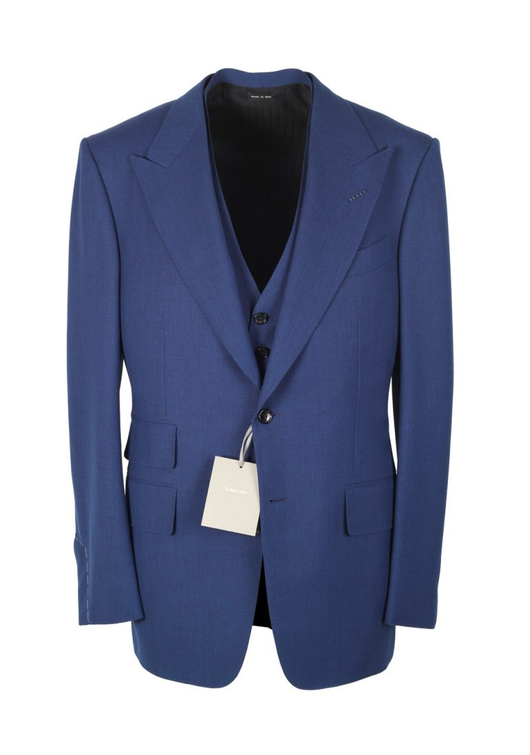 TOM FORD Windsor Royal Blue 3 Piece Suit Size 48 / 38R U.S. Wool Fit A - thumbnail | Costume Limité