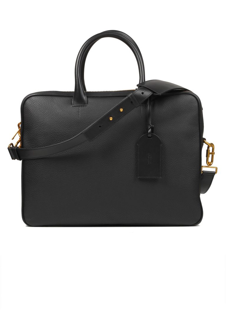 TOM FORD Zip Briefcase With Shoulder Strap Black - thumbnail   Costume Limité