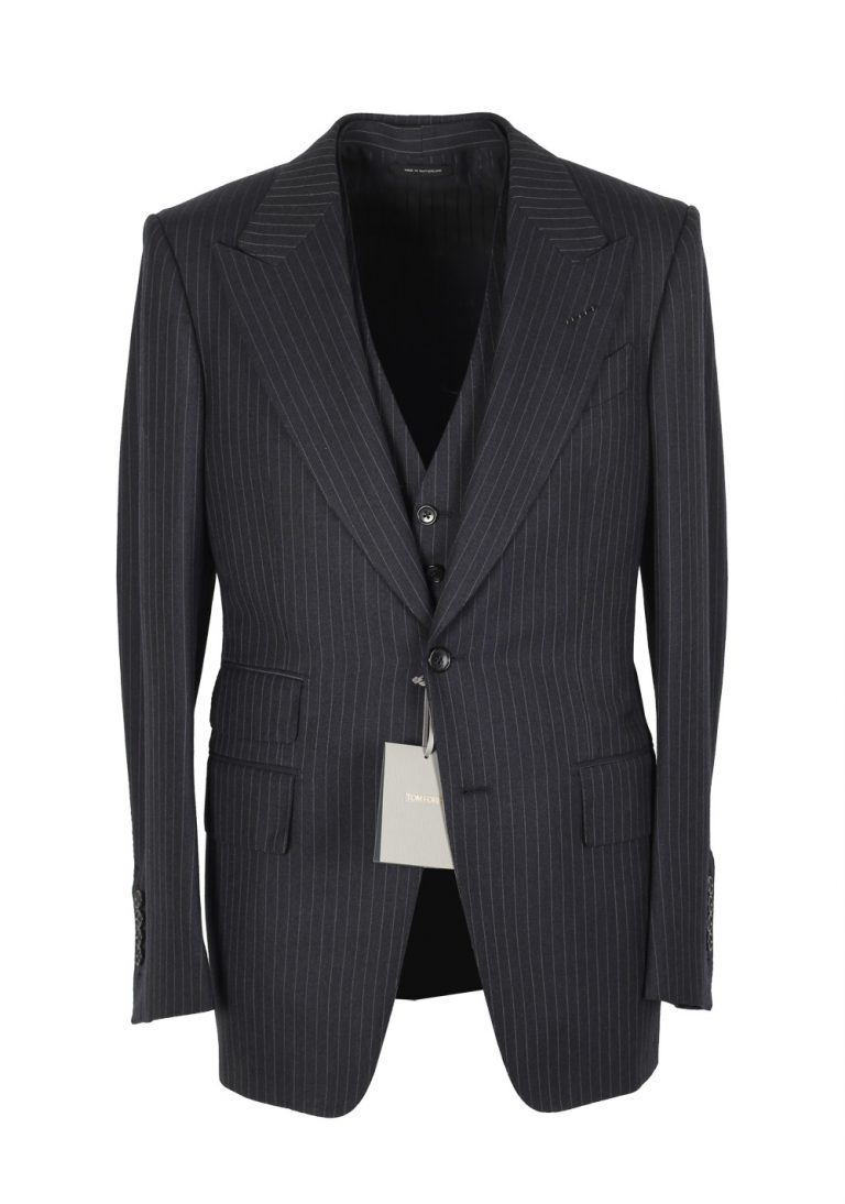 TOM FORD Spencer Charcoal Striped 3 Piece Suit Size 46 / 36R U.S. Wool Fit D - thumbnail | Costume Limité