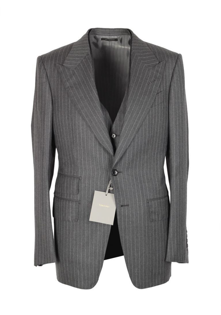 TOM FORD Shelton Gray Striped 3 Piece Suit Size 46 / 36R U.S. Wool Silk - thumbnail | Costume Limité