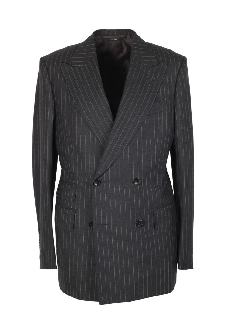 TOM FORD Spencer Double Breasted Striped Gray Suit Size 46 / 36R U.S. Wool Fit D - thumbnail | Costume Limité