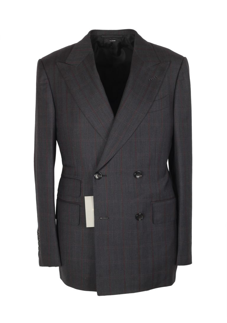 TOM FORD Spencer Double Breasted Checked Gray Suit Size 46 / 36R U.S. Wool Cashmere Fit D - thumbnail | Costume Limité