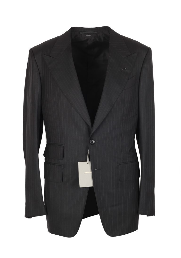 TOM FORD Spencer Striped Charcoal Suit Size 46 / 36R U.S. Wool Silk Fit D - thumbnail | Costume Limité
