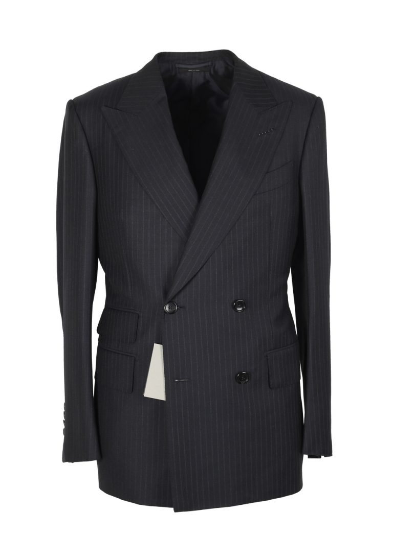 TOM FORD Spencer Double Breasted Striped Charcoal Suit Size 46 / 36R U.S. Wool Silk Mohair Fit D - thumbnail | Costume Limité