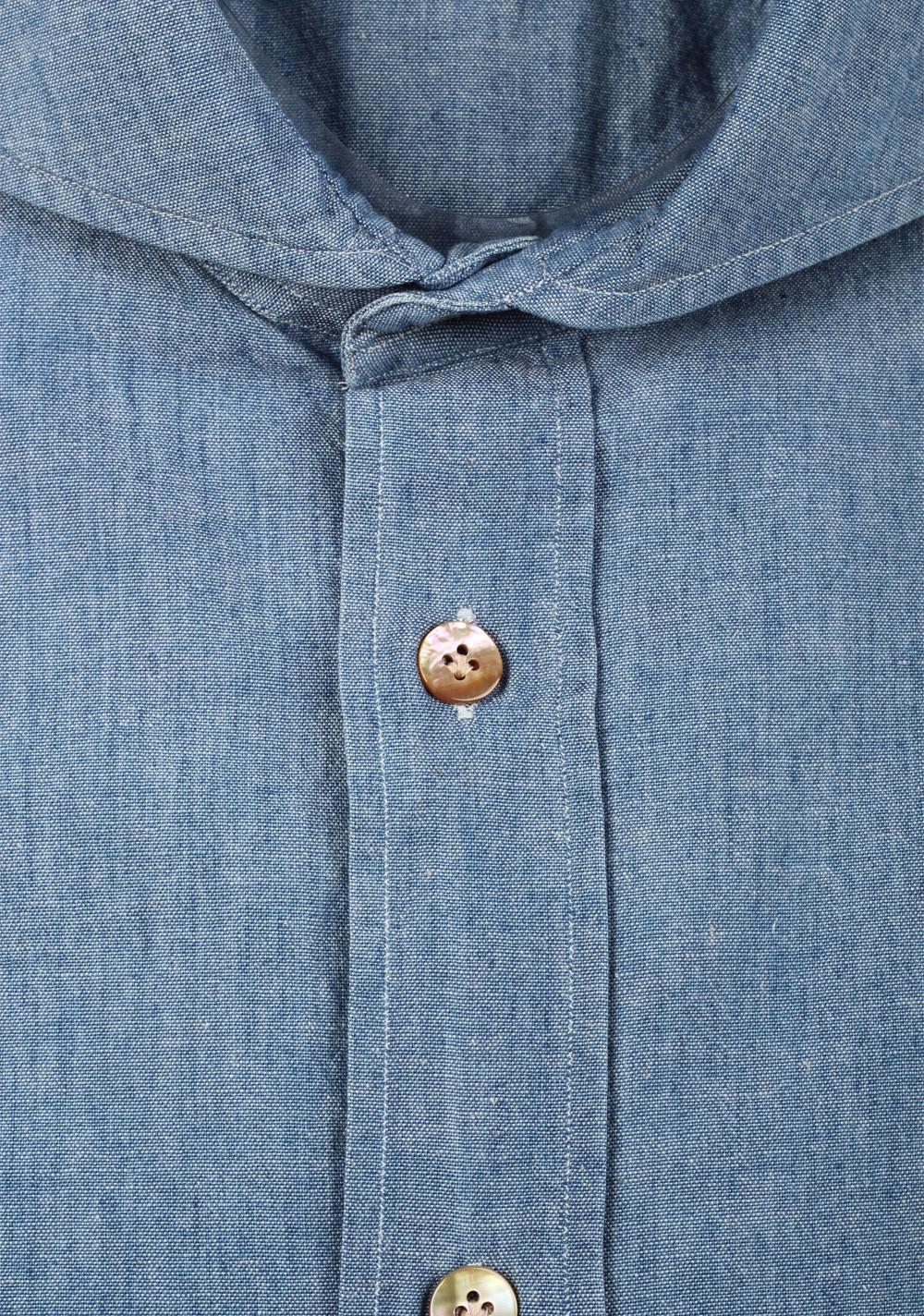 Mazzarelli Denim Shirt Size 42 / 16,5 U.S. In Cotton   Costume Limité