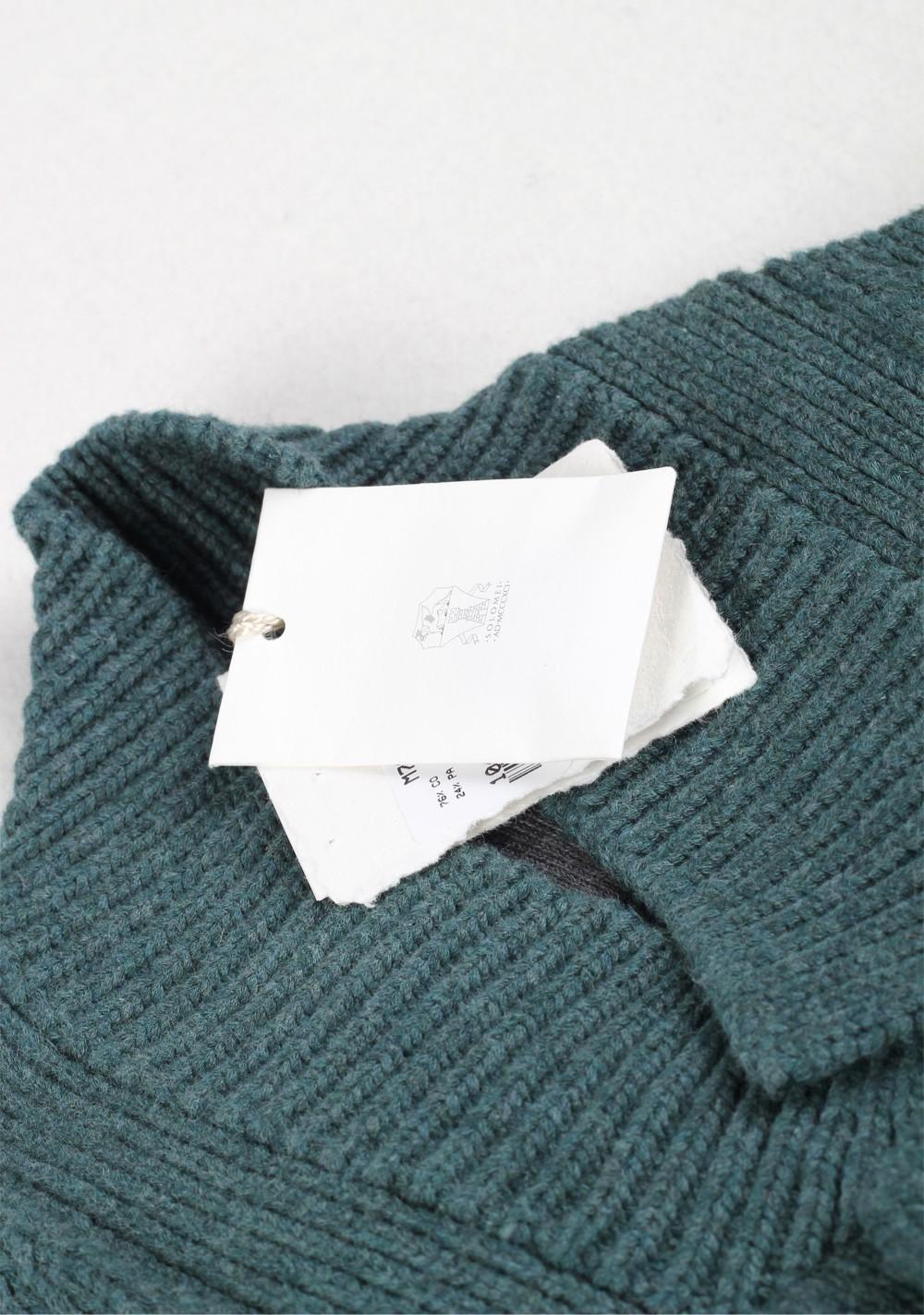 Cucinelli Cardigan Size 58 / 48R U.S. Green Cotton   Costume Limité