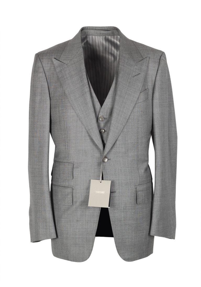 TOM FORD Windsor Sharkskin Gray 3 Piece Suit Size 46 / 36R U.S. Wool Fit A - thumbnail | Costume Limité