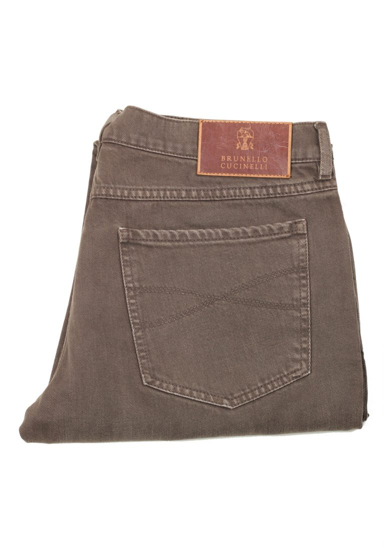 Brunello Cucinelli Brownish Green Jeans Trousers Size 48 / 32 U.S. - thumbnail | Costume Limité