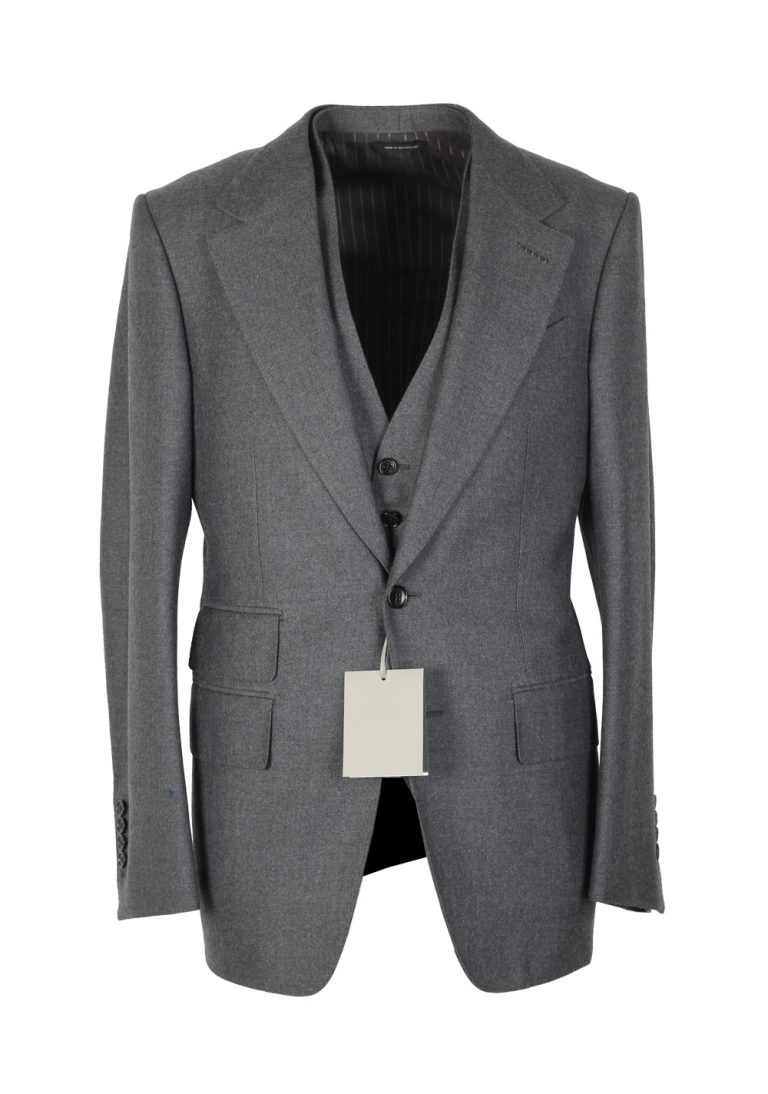 TOM FORD Spencer Solid Gray 3 Piece Suit Size 46 / 36R U.S. Wool Fit D - thumbnail | Costume Limité
