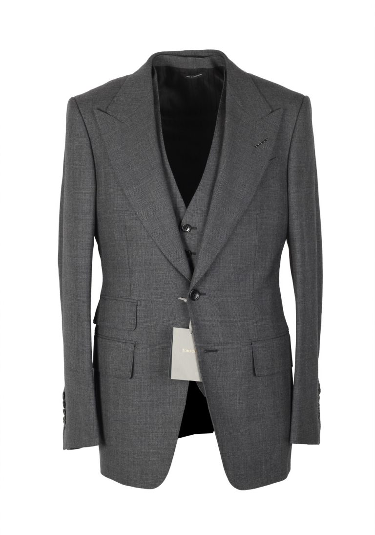 TOM FORD Spencer Gray Checked 3 Piece Suit Size 46 / 36R U.S. Wool Fit D - thumbnail | Costume Limité
