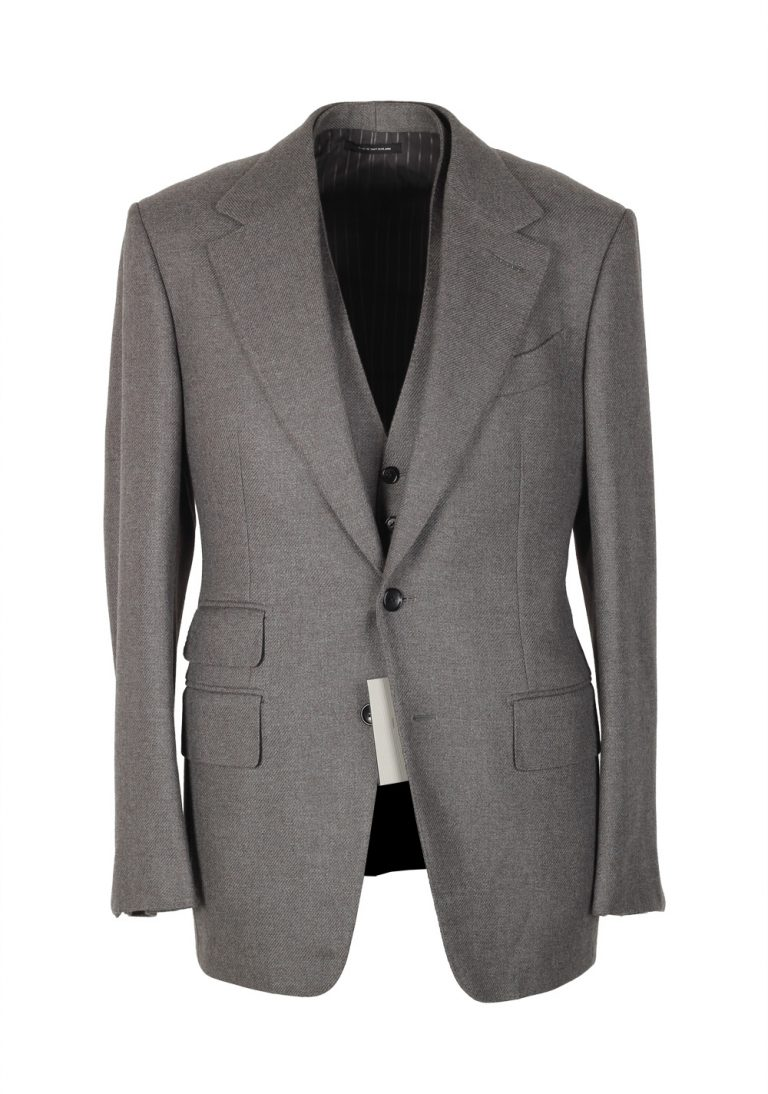 TOM FORD Spencer Brownish Gray Solid 3 Piece Suit Size 46 / 36R U.S. Wool Fit D - thumbnail | Costume Limité