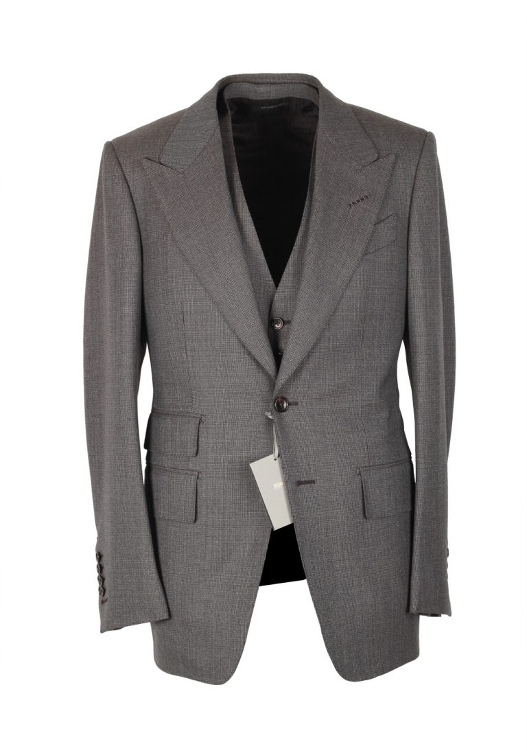 TOM FORD Shelton Brownish Gray Checked 3 Piece Suit Size 46 / 36R U.S. Wool - thumbnail | Costume Limité