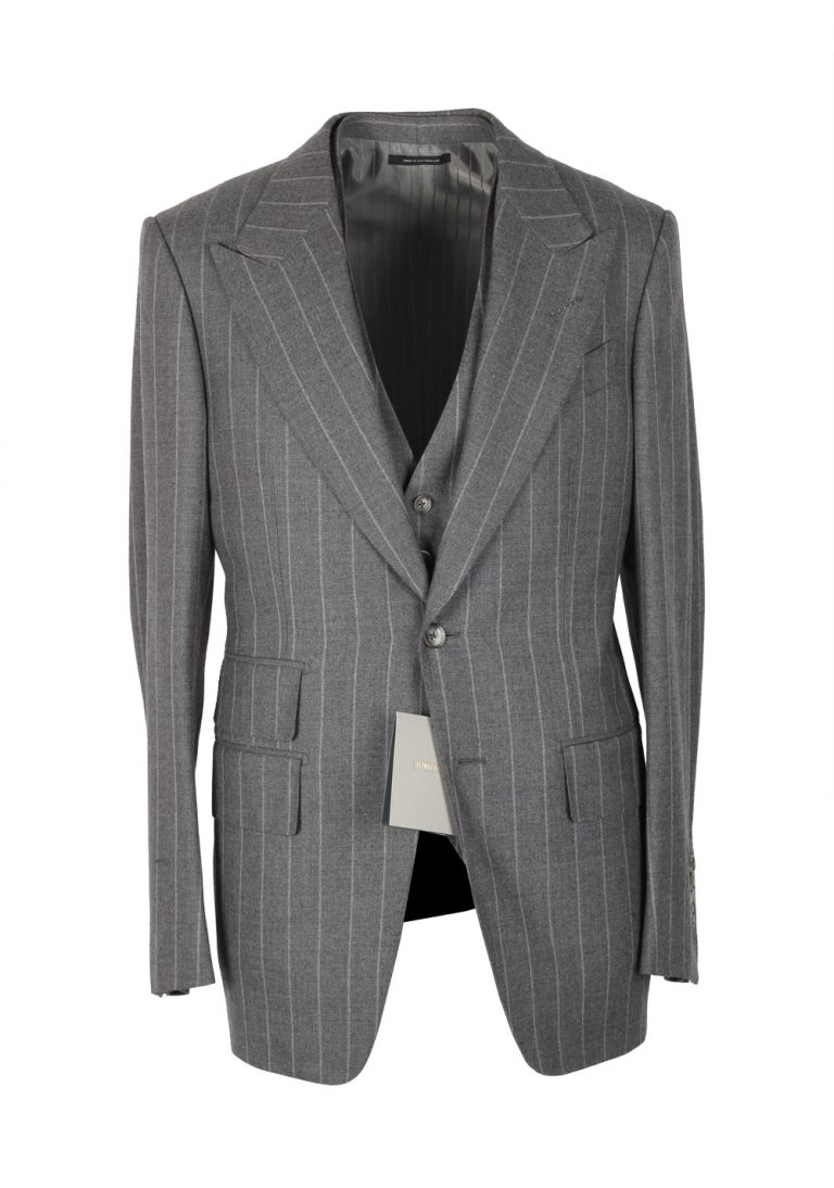 TOM FORD Spencer Gray Striped 3 Piece Suit Size 46 / 36R U.S. Wool Fit D - thumbnail | Costume Limité