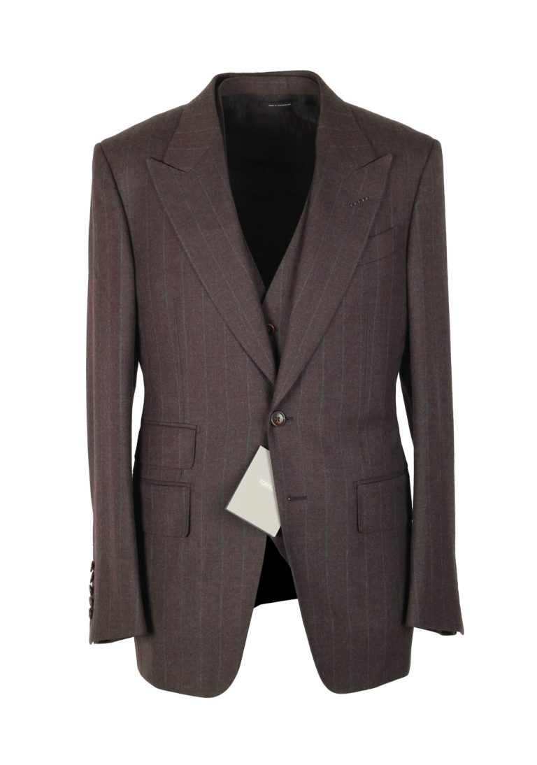 TOM FORD Spencer Brown Striped 3 Piece Suit Size 46 / 36R U.S. Wool Fit D - thumbnail | Costume Limité
