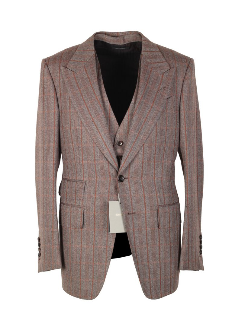 TOM FORD Shelton Brown Checked 3 Piece Suit Size 46 / 36R U.S. Wool - thumbnail | Costume Limité