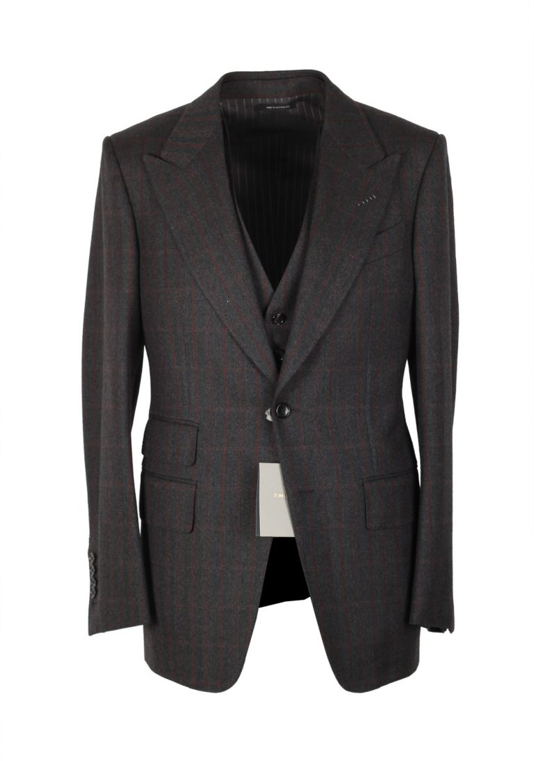 TOM FORD Shelton Gray Checked 3 Piece Suit Size 46 / 36R U.S. Wool - thumbnail | Costume Limité