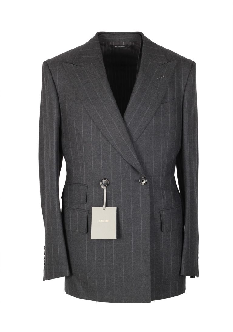 TOM FORD Spencer Double Breasted Striped Gray 3 Piece Suit Size 46 / 36R U.S. Wool Fit D - thumbnail | Costume Limité