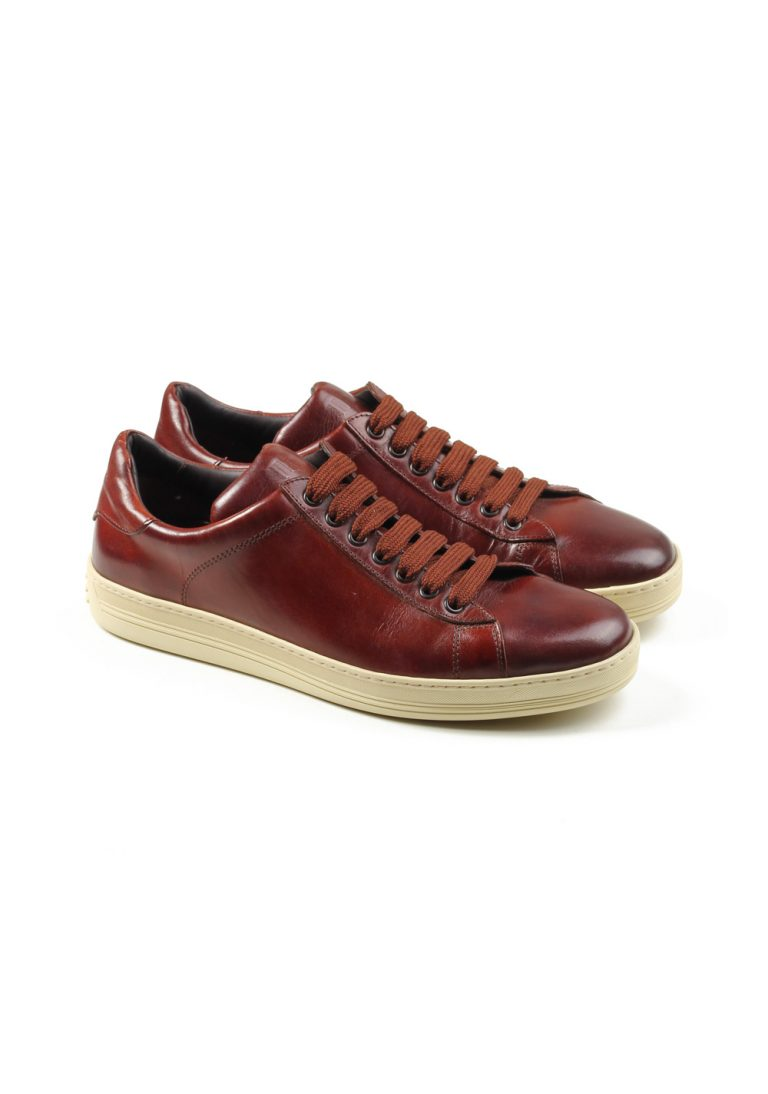 TOM FORD Russel Low Top Brown Leather Sneaker Shoes Size 8.5 UK / 9.5 U.S. - thumbnail | Costume Limité