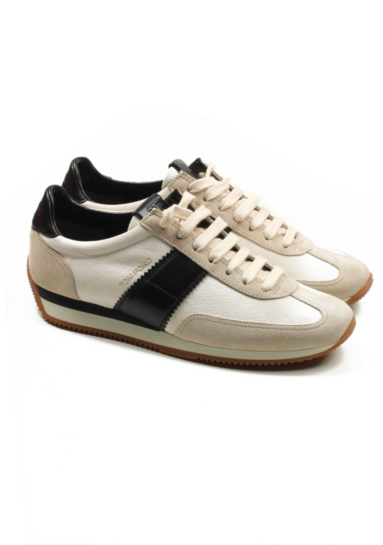 TOM FORD Orford Colorblock Suede White Black Trainer Sneaker Shoes Size 11 UK / 12 U.S. - thumbnail | Costume Limité