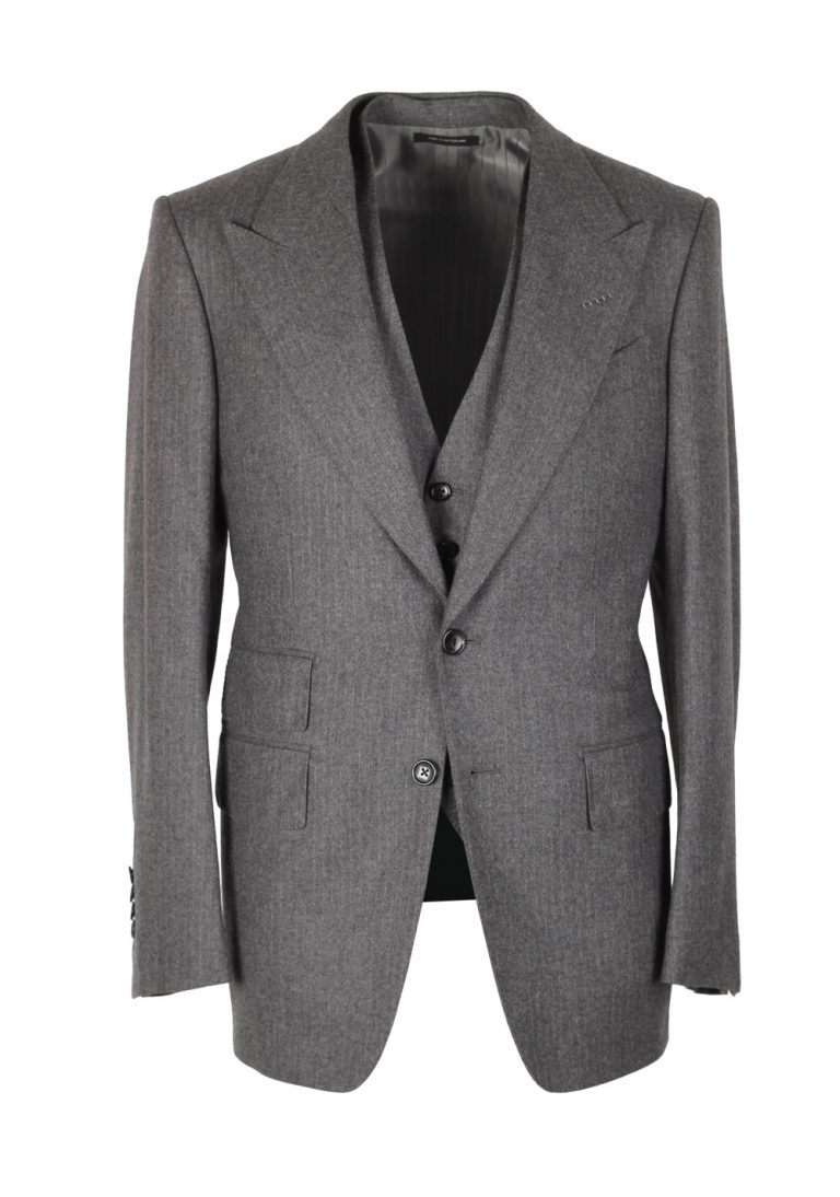 TOM FORD Shelton Gray Striped 3 Piece Suit Size 46 / 36R U.S. Wool - thumbnail | Costume Limité