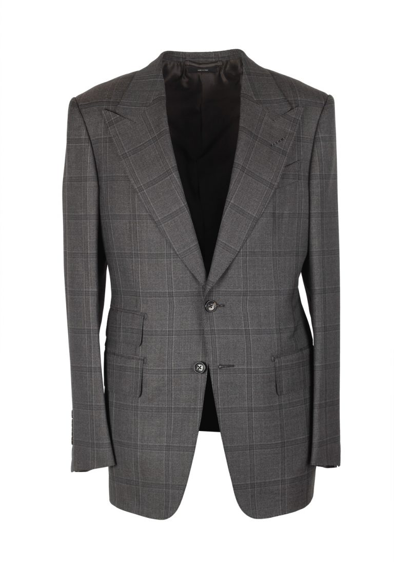 TOM FORD Spencer Checked Gray Suit Size 46 / 36R U.S. Wool Silk Fit D - thumbnail | Costume Limité