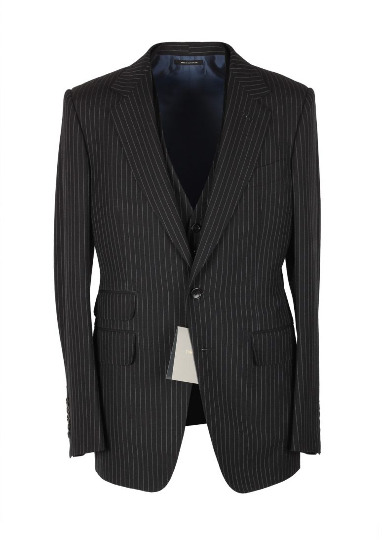 TOM FORD Striped Charcoal 3 Piece Suit Size 48 / 38R U.S. Wool Basic Base E - thumbnail | Costume Limité