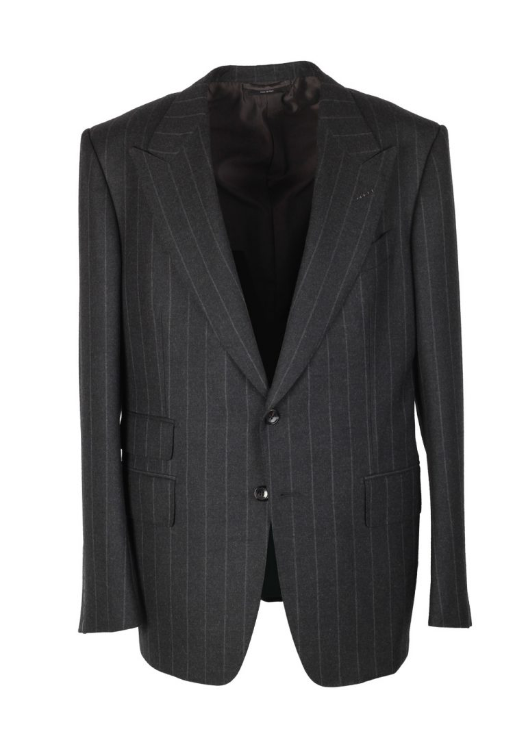 TOM FORD Spencer Striped Gray Suit Size 54 / 44R U.S. Wool Fit D - thumbnail | Costume Limité