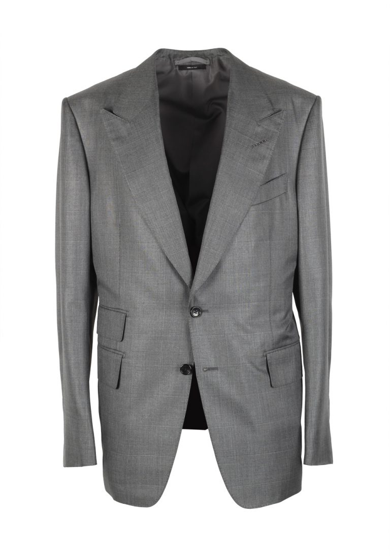 TOM FORD Shelton Checked Gray Suit Size 52 / 42R U.S. Silk Wool - thumbnail | Costume Limité