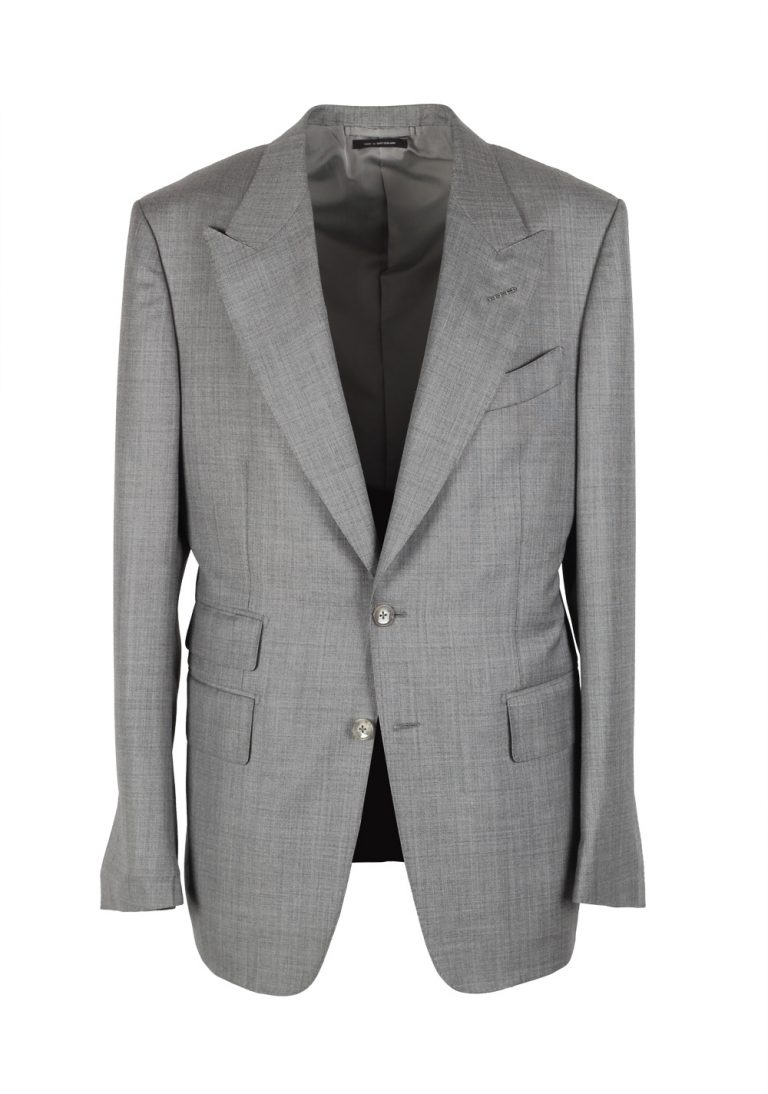 TOM FORD Shelton Sharkskin Light Gray Suit Size 52 / 42R U.S. Wool - thumbnail | Costume Limité