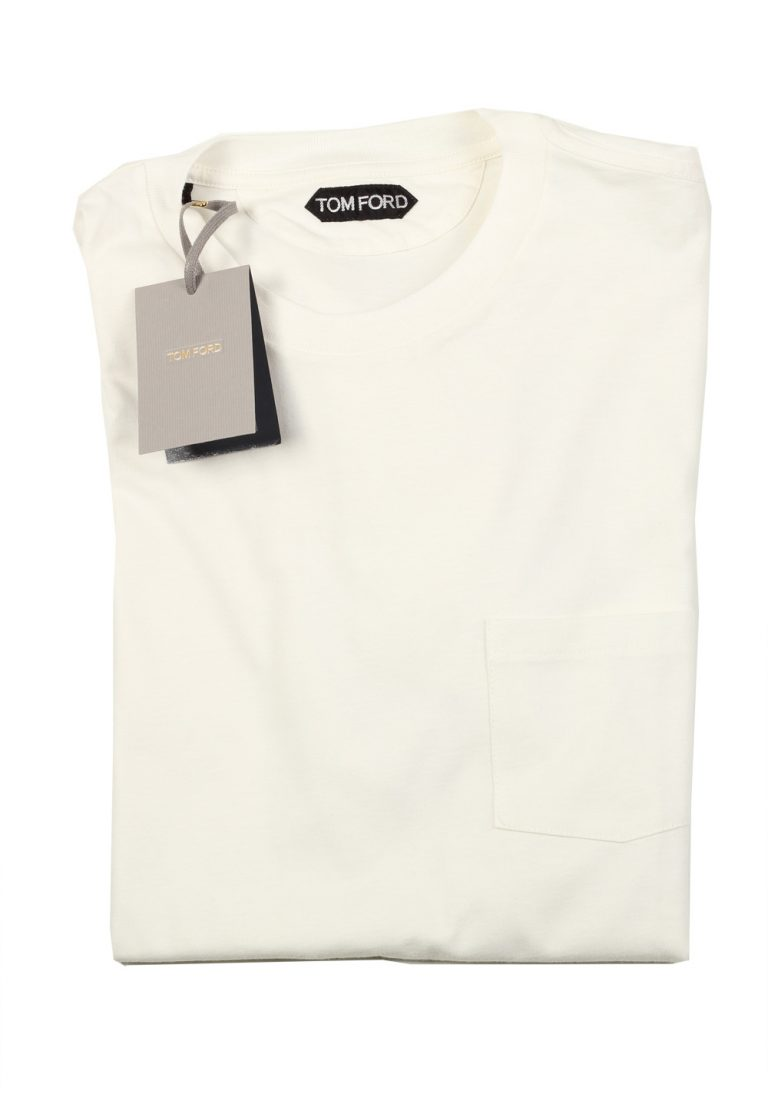 TOM FORD Crew Neck Off White Tee Shirt Size 52 / 42R U.S. - thumbnail | Costume Limité