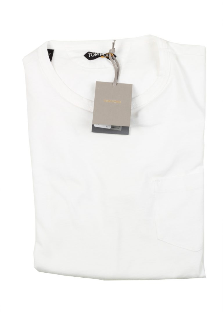 TOM FORD Crew Neck White Tee Shirt Size 52 / 42R U.S. - thumbnail   Costume Limité