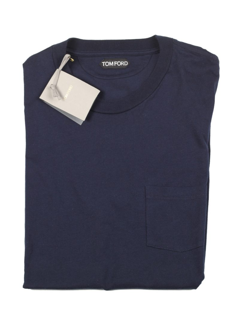 TOM FORD Crew Neck Navy Tee Shirt Size 54 / 44R U.S. - thumbnail | Costume Limité