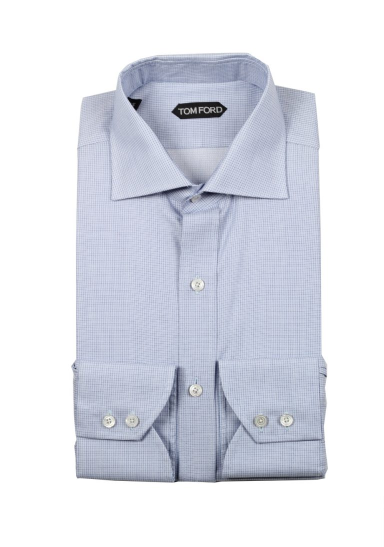 TOM FORD Checked White Blue Shirt Size 39 / 15,5 U.S. - thumbnail | Costume Limité
