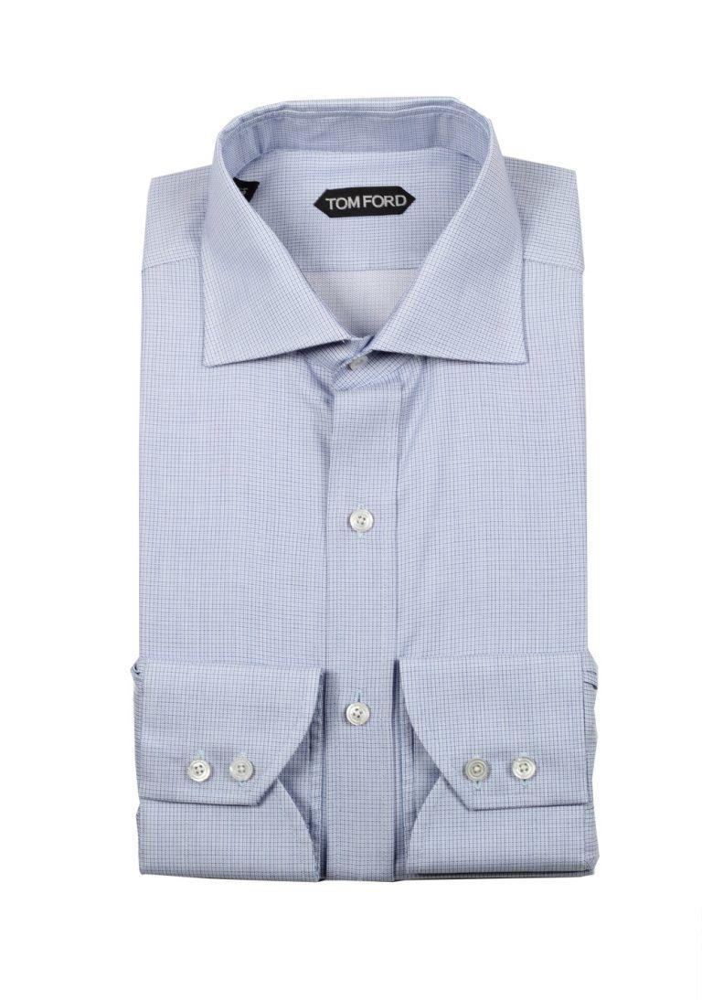TOM FORD Checked White Blue Shirt Size 43 / 17 U.S. - thumbnail | Costume Limité