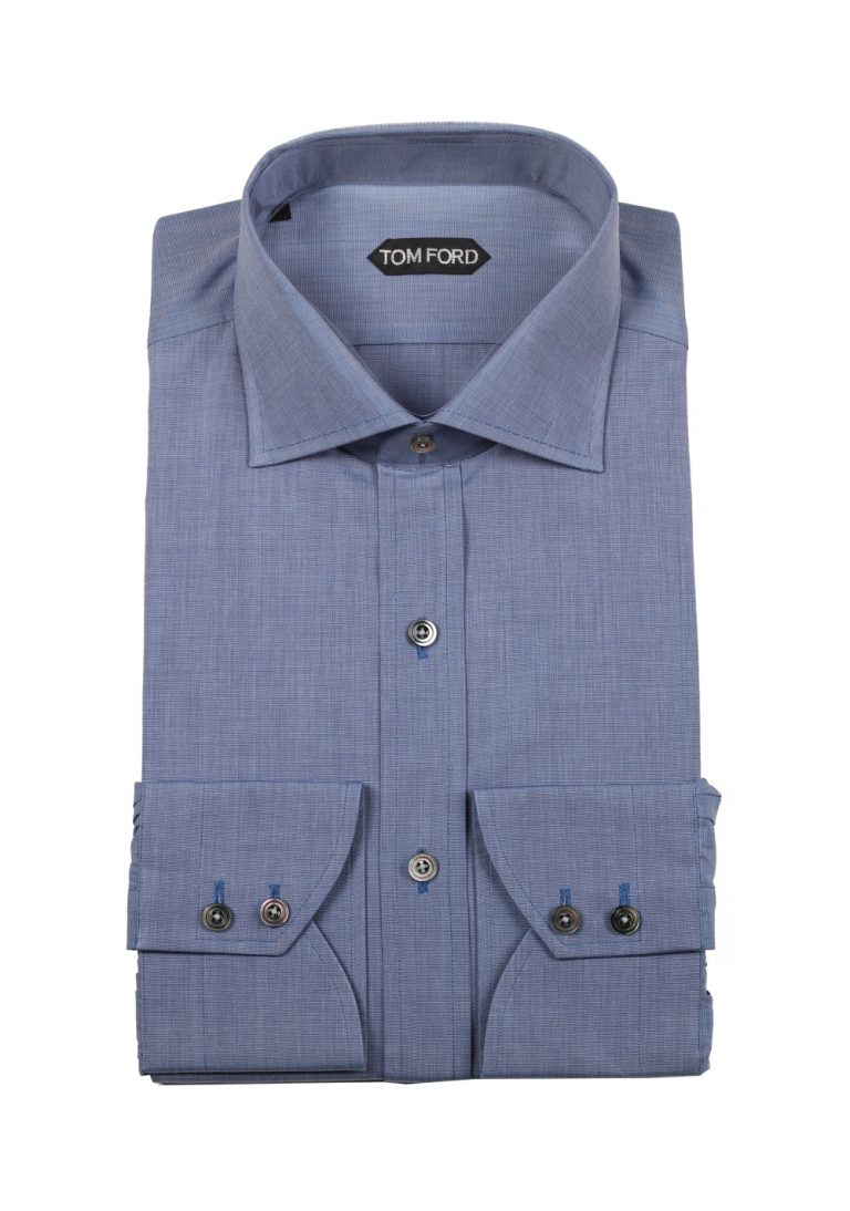 TOM FORD Patterned Blue Shirt Size 43 / 17 U.S. - thumbnail | Costume Limité