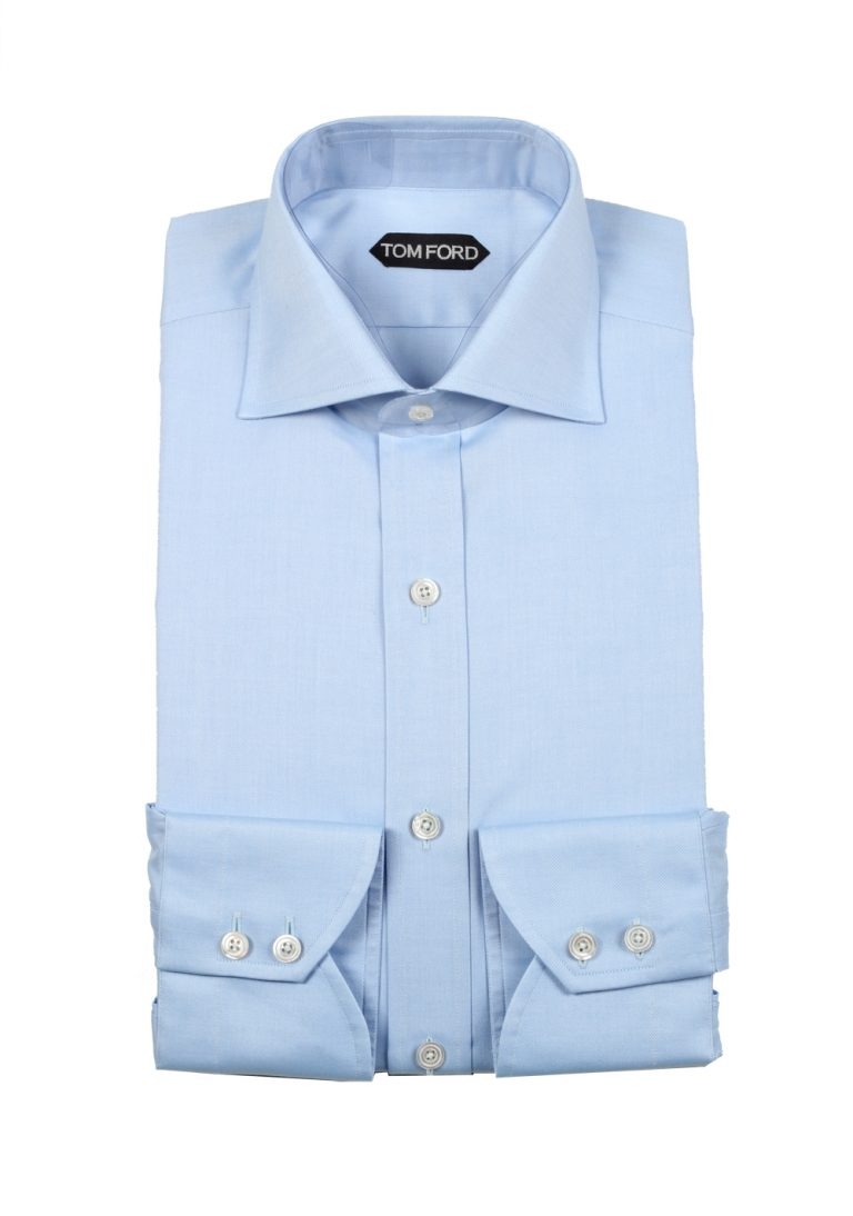 TOM FORD Solid Blue Shirt Size 40 / 15,75 U.S. - thumbnail | Costume Limité