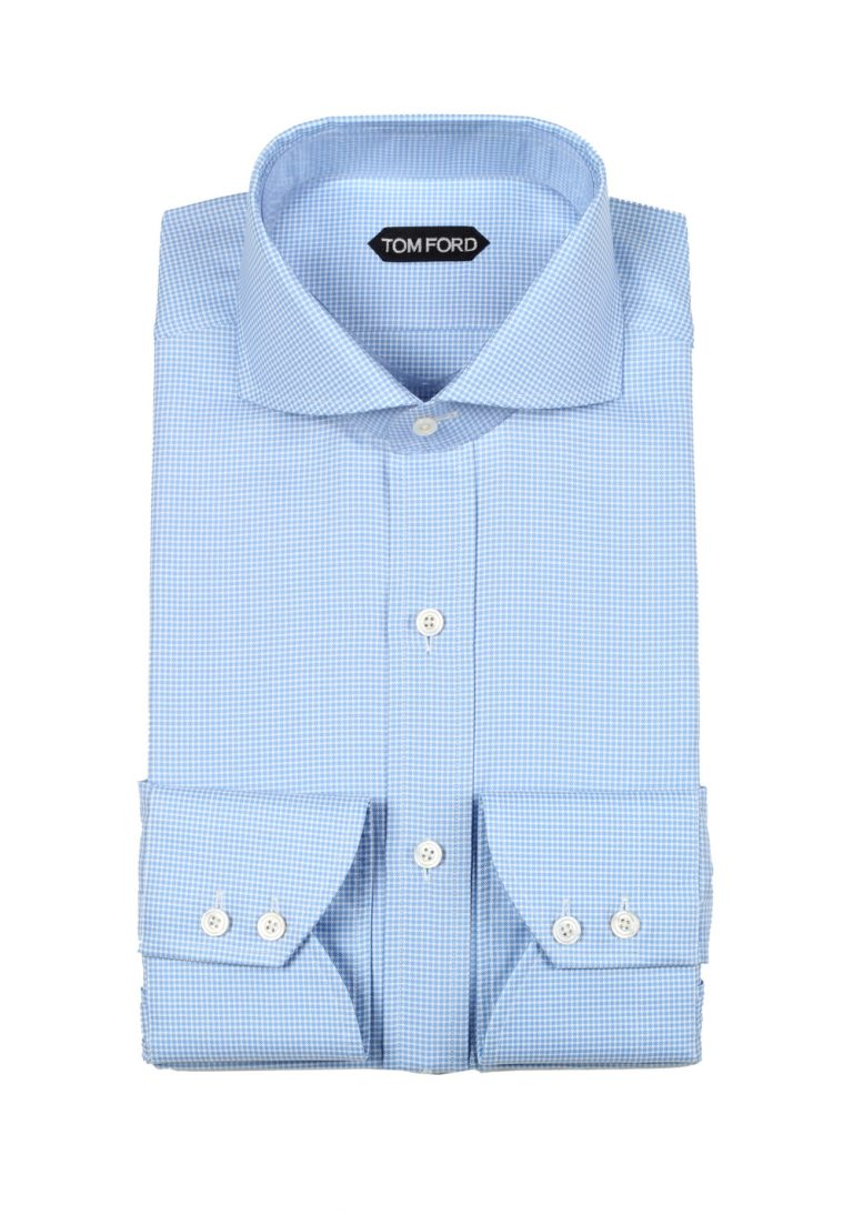 TOM FORD Checked White Blue Shirt Size 42 / 16,5 U.S. - thumbnail | Costume Limité